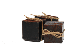 Soap with ribbon infused with coffee