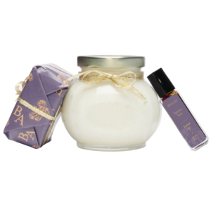 Equpian Sand scented Body Parfait with soap and perfume leaning in Parfait Jar