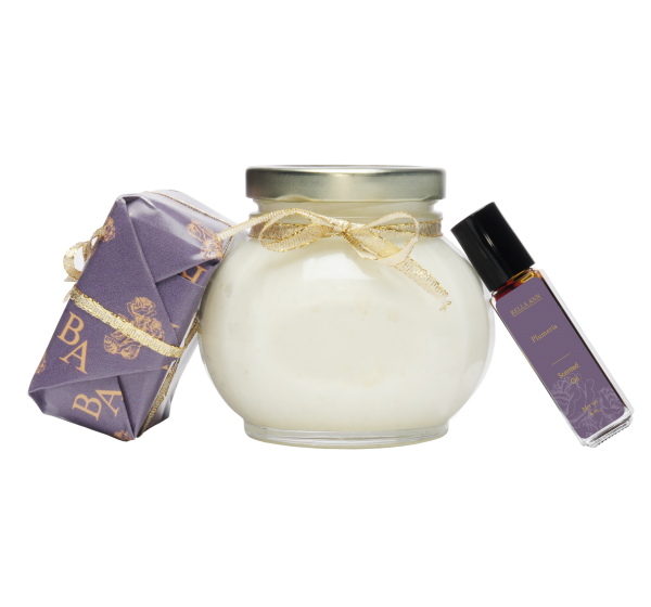Scented soap, body oil and body parfait with Plumeria essential oil scents
