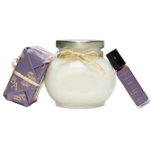 trio package of sandalwood vanilla scented body oil, soap and parfait