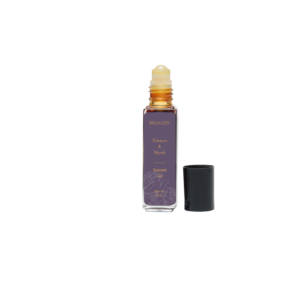 Bottle of Tobacco & Myrrh scented roll-on body oil